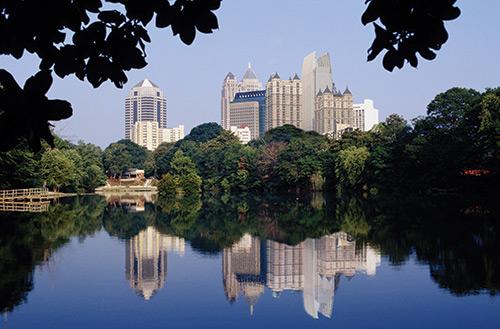 Piedmont pond and the Atlanta skyline
