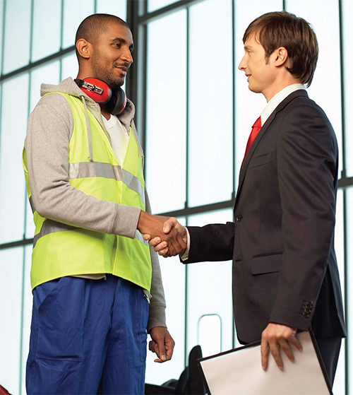 Worker management hand shake