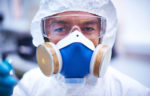 lab worker with mask