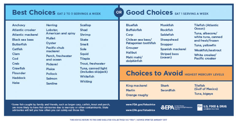 Fda epa issue fish consumption guidelines for mothers for Pregnancy fish chart
