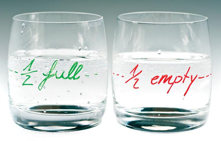 half-filled glasses