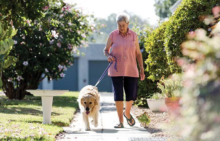 lady walking the dog