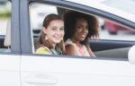 teenage girls in the car