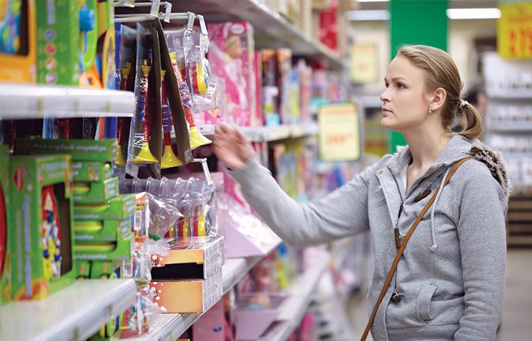woman shopping for toys