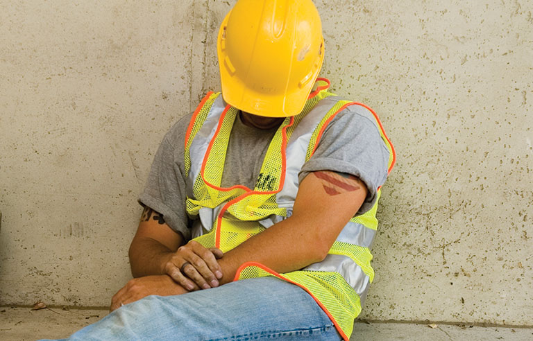 Construction-worker-sleeping