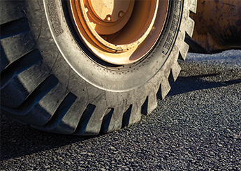 excavator-tire on the road