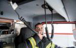 firefighter using radio