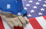 blue hard hat-flag
