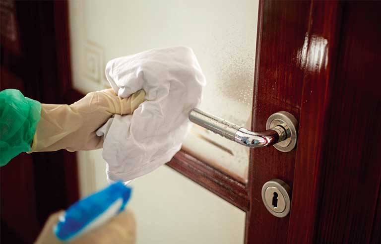 Disinfecting door