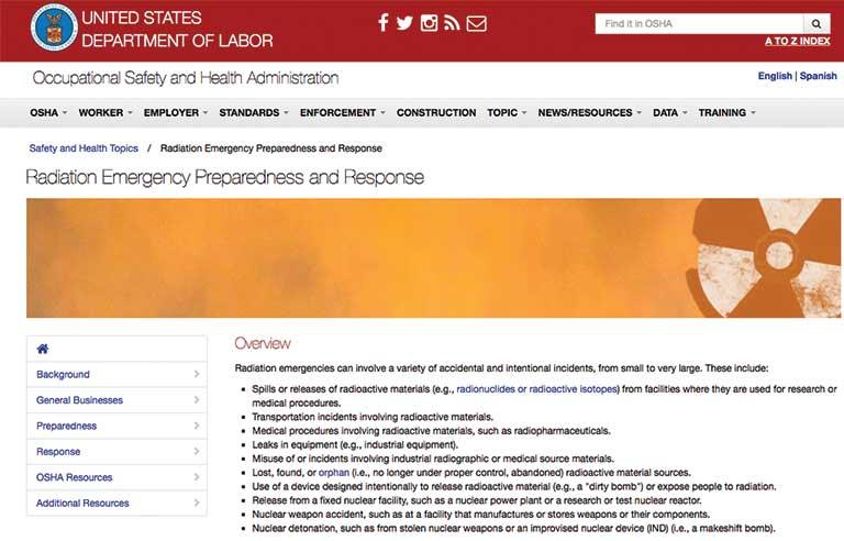 OSHA launches webpage on radiation emergency preparedness