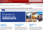 OSHA.gov web page: Whistleblowers program in Spanish