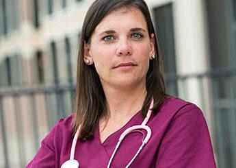 Nurse in purple
