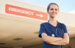 nurse standing outside emergency room