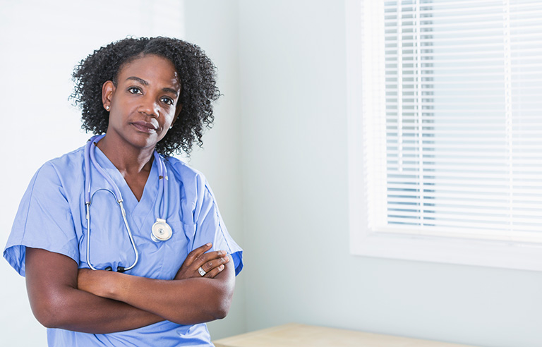 Black serious nurse