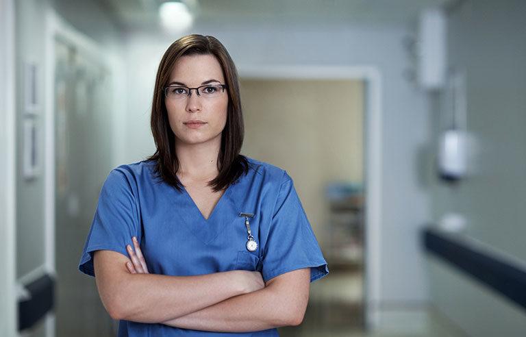 Non-smiling nurse