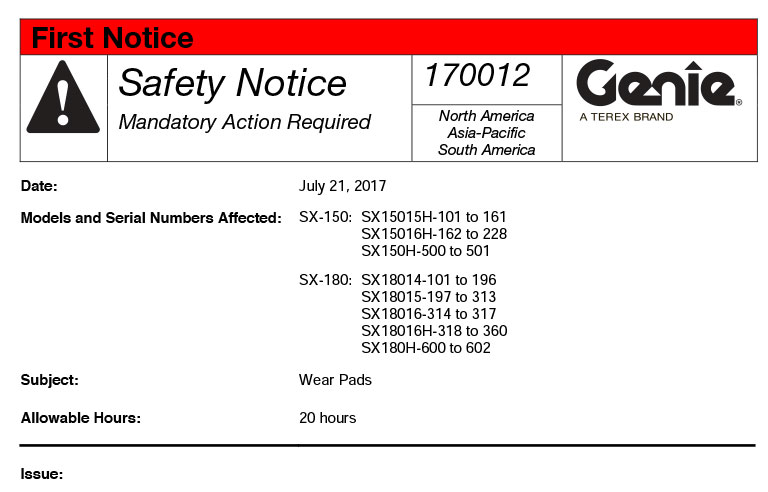 Manufacturer Issues Recall On Aerial Lifts 2017 07 31