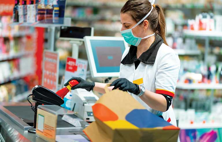 Cashier with mask