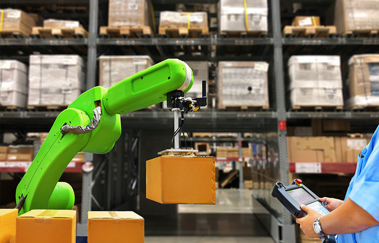 Lime green robot arm with box