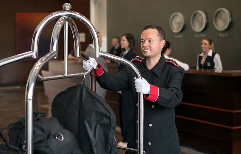 Bellhop at hotel