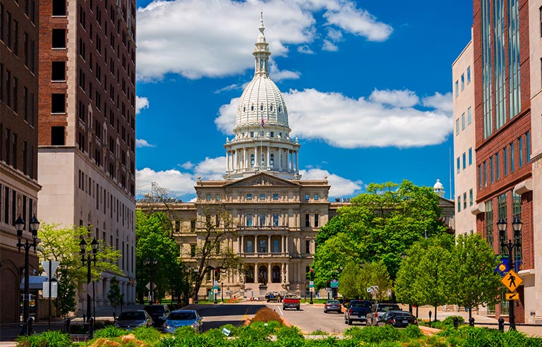 Michigan state capitol and downtown lansing