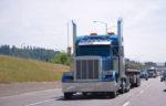 blue semi truck