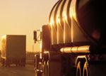 Trucks at sunset