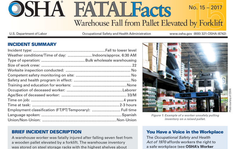 Latest Fatal Facts Examines Fall From Forklift Elevated
