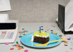 birthday cake - office desk