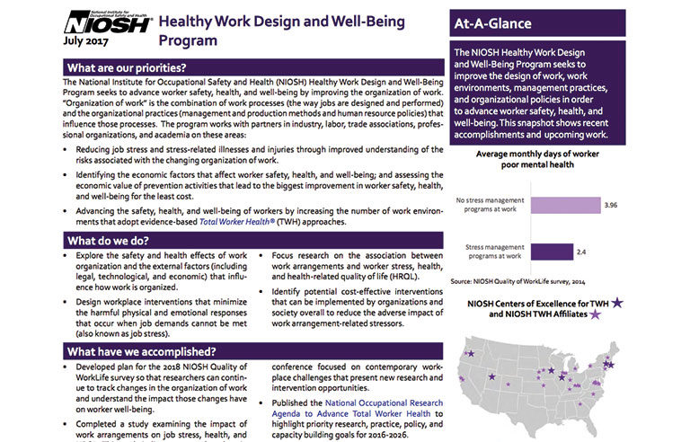 Healthy Work Design and Well Being Program