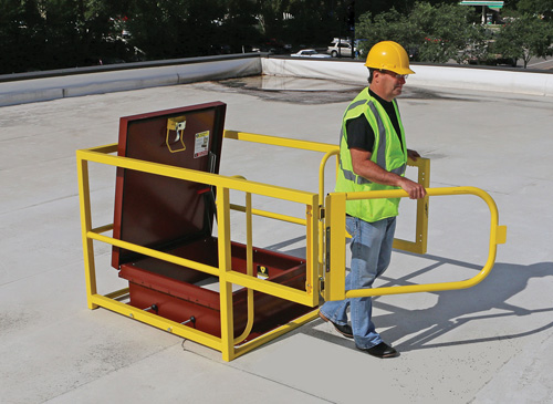 Roof Safety Rails : Roof hatch guard safety health magazine