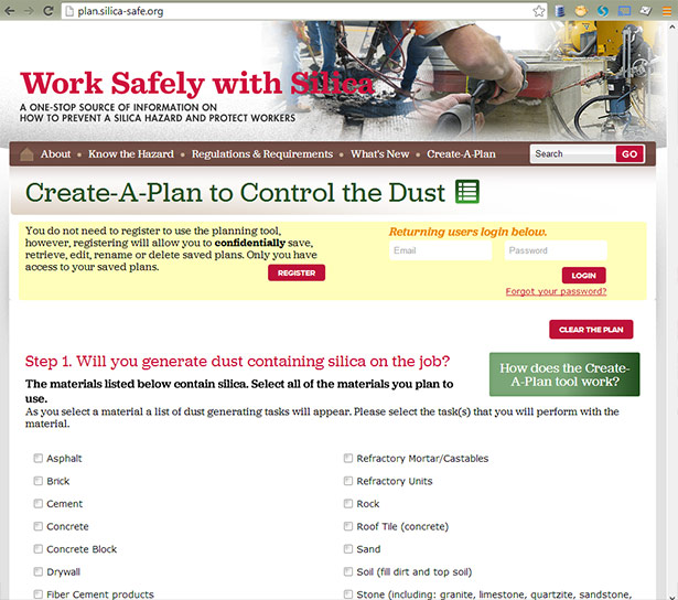 Cpwr Website Offers Create A Plan For Reducing Silica