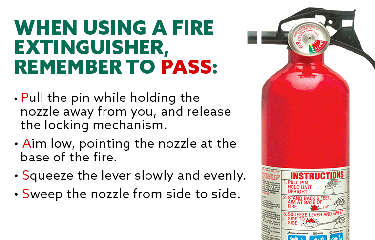 How to use a fire extinguisher using the PASS method